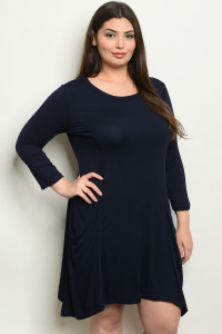 S14-8-3-D5319X NAVY PLUS SIZE DRESS 2-2-2