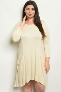 S14-8-1-D5319X BEIGE PLUS SIZE DRESS 2-2-2