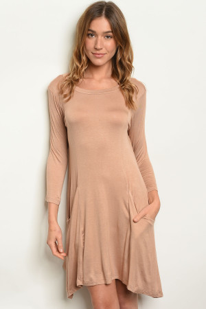 S9-19-1-D5319 TAUPE DRESS 3-1-3