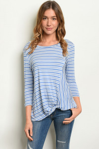 S9-13-4-T1235 BLUE STRIPES TOP 2-2-2