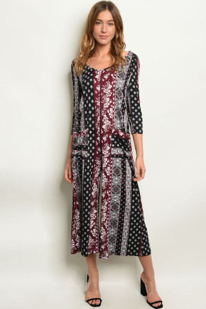 S9-11-1-J8119 BLACK BURGUNDY PRINT JUMPSUIT 2-2-2