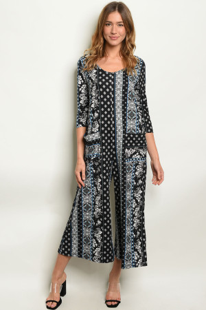 S9-19-1-J8119 BLACK BLUE PRINT JUMPSUIT 2-1-1