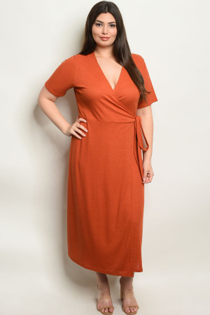 S10-9-4-NA-D19826X BRICK PLUS SIZE DRESS 2-2-2