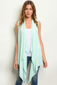 S18-7-4-C1383 MINT STRIPES CARDIGAN 2-2-2