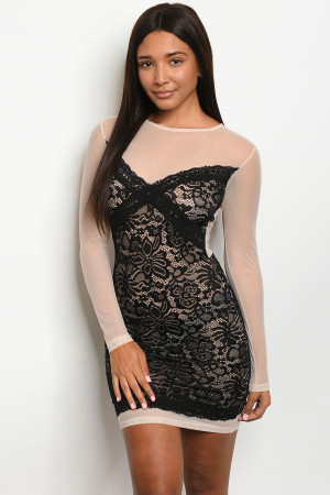 C90-A-3-D12004 BEIGE BLACK DRESS 2-2-1