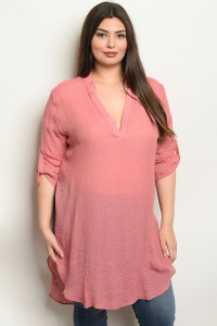 S14-9-93-NA-T19568X MAUVE PLUS SIZE TOP 3-2-2