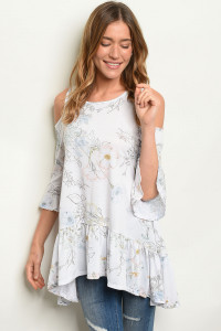 S10-19-1-T1402 OFF WHITE FLORAL TOP 1-2-2