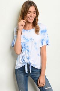 S9-13-1-T1384 BLUE TYE DYE TOP 2-2-2