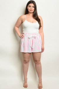 S17-5-5-NA-S19093X OFF WHITE PINK PLUS SIZE STRIPES SHORTS 1-1-1