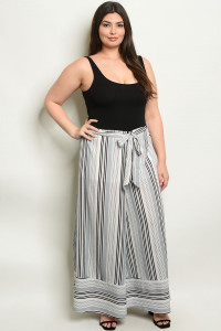 S16-12-2-NA-P19828X OFF WHITE BLACK STRIPES PLUS SIZE PANTS 2-2-2
