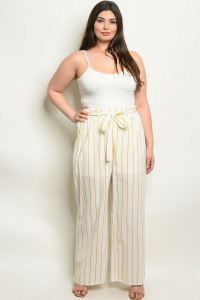 S18-9-3-NA-P19162X IVORY YELLOW STRIPES PLUS SIZE PANTS 2-2-2
