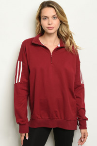 S19-10-1-T8238 BURGUNDY TOP 2-2-2