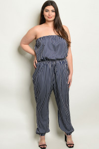 S11-10-5-NA-J19179X NAVY STRIPES PLUS SIZE JUMPSUIT 2-2-2
