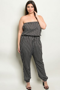 S18-8-3-NA-J19179X BLACK STRIPES PLUS SIZE JUMPSUIT 3-2-2