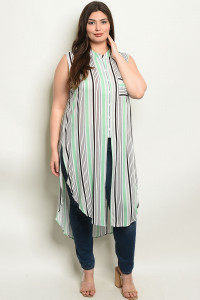 S11-10-5-NA-T11413X GREEN STRIPES PLUS SIZE TOP 2-2-2