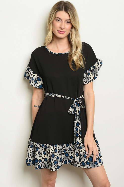 C95-A-5-D4134P BLACK BLUE ANIMAL PRINT DRESS 2-2-2