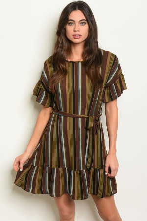 C89-A-3-D4134T BROWN MULTI STRIPES DRESS 2-2-2