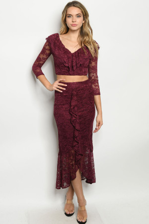 SA3-0-1-SET14035 BURGUNDY TOP & SKIRT SET 2-2-2