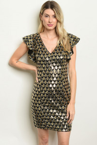 S4-2-4-D14464 BLACK GOLD WITH SEQUINS DRESS 2-2-2