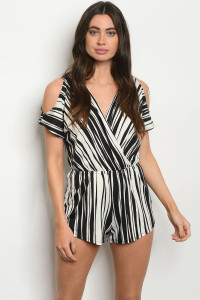 C58-A-2-R50199 IVORY BLACK STRIPES ROMPER 2-2-2