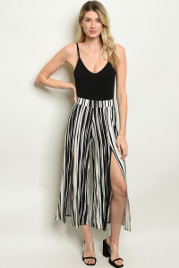 C66-A-7-P40096 IVORY BLACK STRIPES PANTS 2-2-2