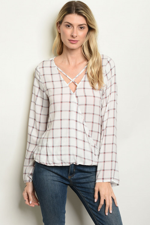 S2-10-5-T53630 OFF WHITE CHECKERED TOP 2-2-2