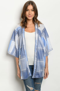 S3-5-5-C90962 BLUE CHECKERED CARDIGAN 2-2-2