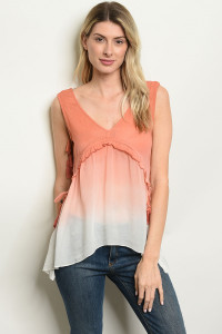 S3-6-5-T53621 PEACH IVORY TOP 2-2-2