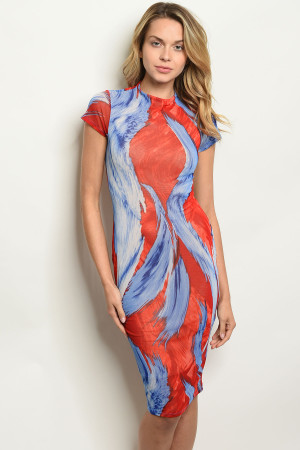 C30-A-1-D1829 RED BLUE DRESS 2-2-1