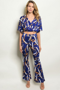 C30-A-7-SET5382 NAVY WITH CHAIN PRINT TOP & PANTS SET 2-2-2