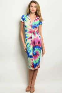 C32-A-2-D2501 MULTI COLOR TIE DYE DRESS 2-2-2