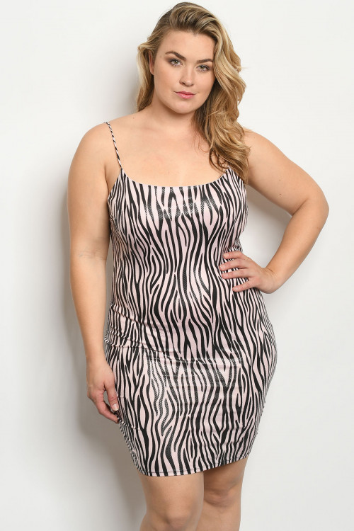 C32-A-1-D2447X BLUSH ZEBRA PRINT PLUS SIZE DRESS 2-2-2