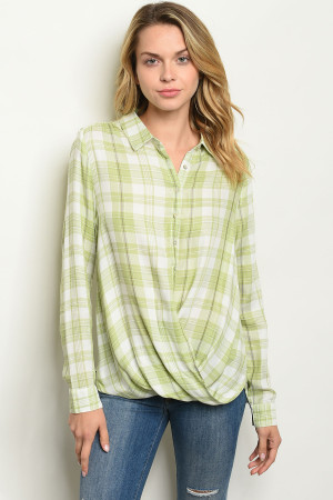 S15-12-6-T6755 GREEN CHECKERED TOP 2-2-2