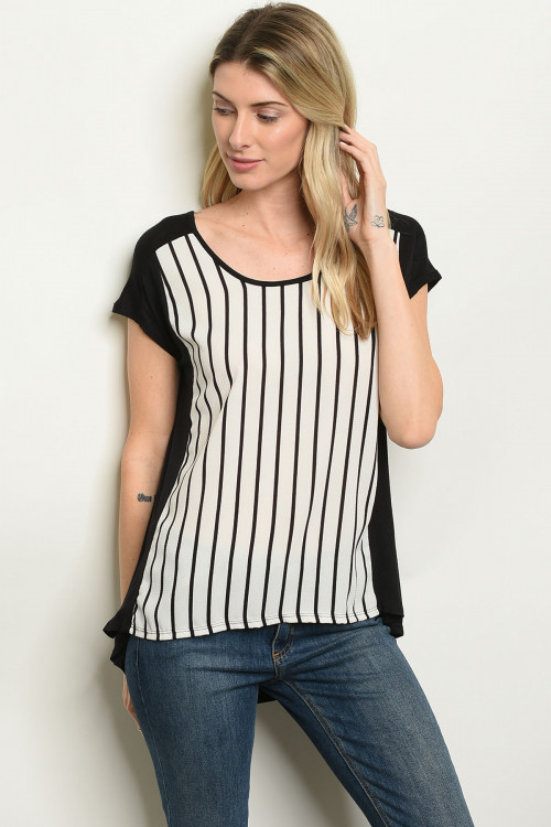 C11-B-1-T1078 BLACK WHITE STRIPES TOP 3-3