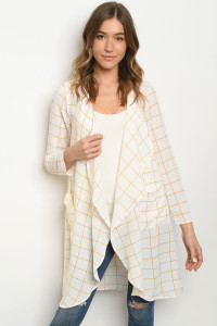 S8-14-1-C3527 IVORY CHECKERED CARDIGAN 2-2-2