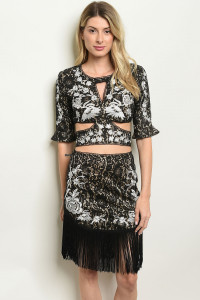 S23-9-2-SET40101 BLACK NUDE WITH FLOWER EMBROIDER TOP & SKIRT SET 2-2-2