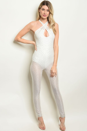 S20-9-2-J30813 WHITE WITH STONES JUMPSUIT 2-2-2  ***WARNING: California Proposition 65***