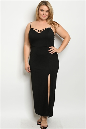 S22-6-2-D6537X BLACK PLUS SIZE DRESS 2-2-1