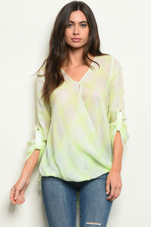 S19-12-5-T3049 NEON YELLOW CHECKERED TOP 3-2-1