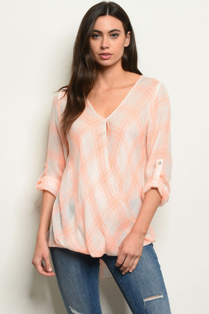 S21-12-3-T3049 NEON ORANGE CHECKERED TOP 3-2-1