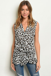 S18-1-4-T5761 WHITE ANIMAL PRINT TOP 3-2-1