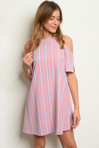 S21-10-6-D1512 PINK STRIPES DRESS 3-2-1