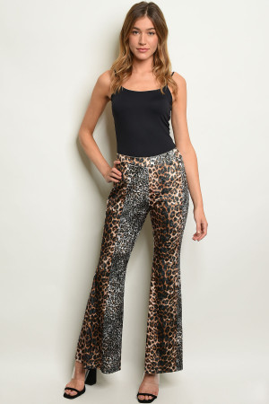 S23-10-6-P1021 BLACK VELVET ANIMAL PRINT PANTS / 6PCS