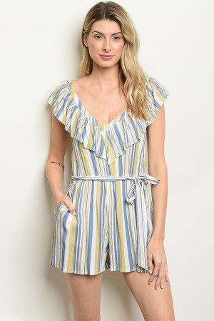 S24-8-1-R53495 TAUPE STRIPES ROMPER 2-2-2