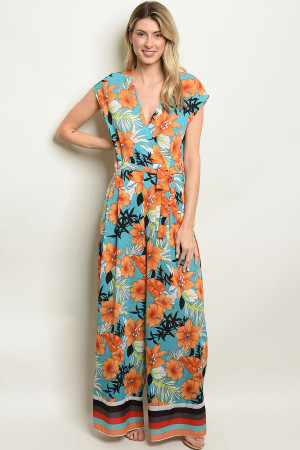 S8-13-1-J53060 BLUE W/ FLOWERS JUMPSUIT 2-2-2
