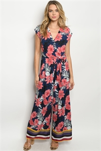 S8-13-1-J53060 NAVY W/ FLOWERS JUMPSUIT 2-2-2