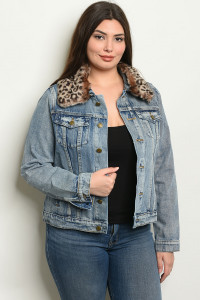 S17-1-1-J7025 DENIM WASH PLUS SIZE JACKET 1-1-1-1