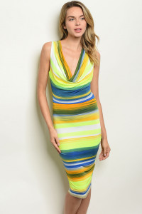 C56-A-3-D2563 NEON YELLOW MULTI STRIPES DRESS 2-2-2