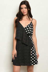 S10-17-3-D0012 BLACK WHITE POLKA DOTS DRESS 4-2-1