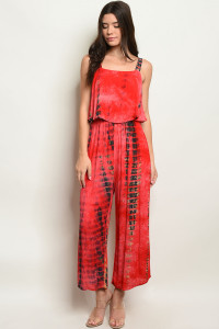 C82-A-7-J4346 RED TIE DYE JUMPSUIT 3-2-1